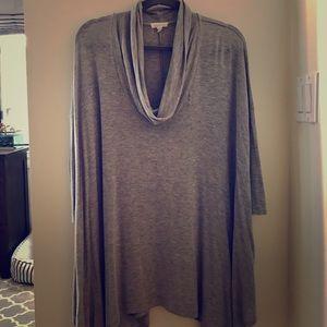 Silence + Noise Gray, Tunic Length, Cowl Neck Knit